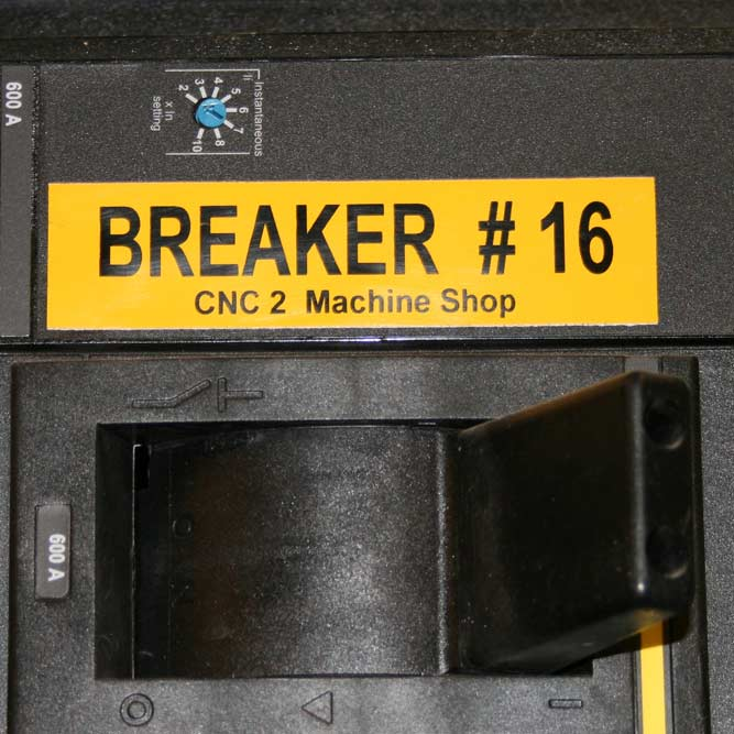 Image of electric breaker labeled with vinyl specialty tape